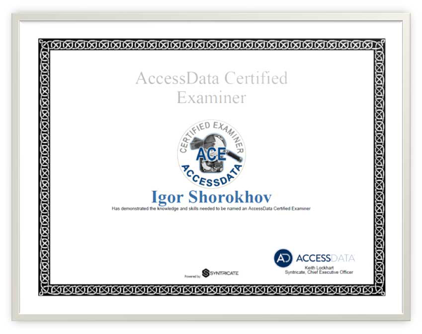 Accessdata Certified Examiner Certified Experts Digital Forensics