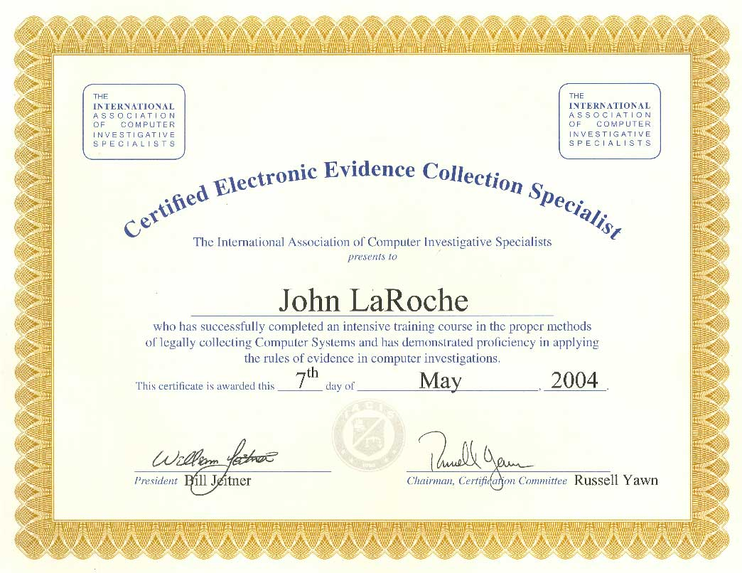 Certified Electronic Evidence Collection Specialist - Collection specialist