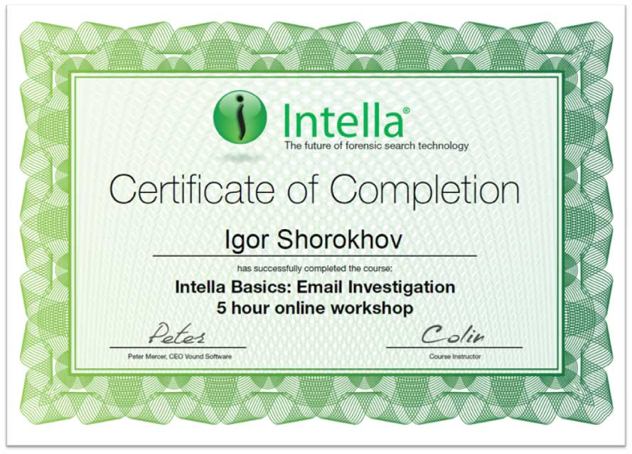 Intella Basic Email Investigation Certificate