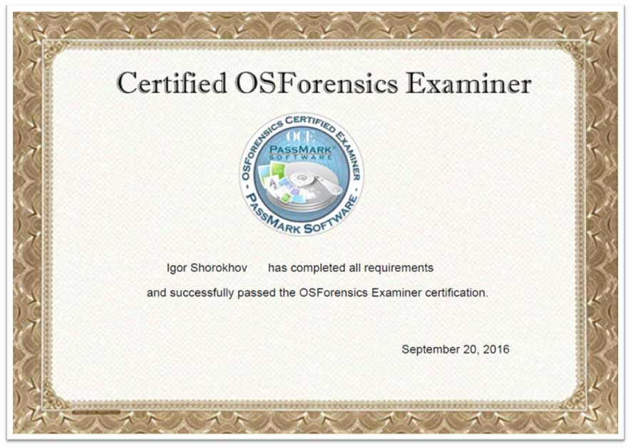 Certified OSForensics Examiner - Digital Forensics Corporation ...