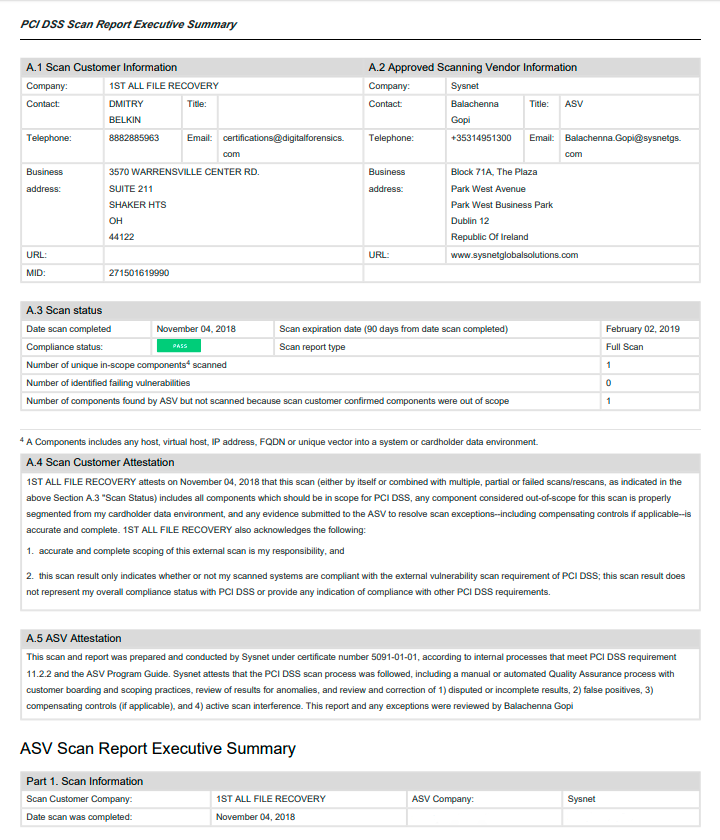 PCI DSS Compliant Report Page 1